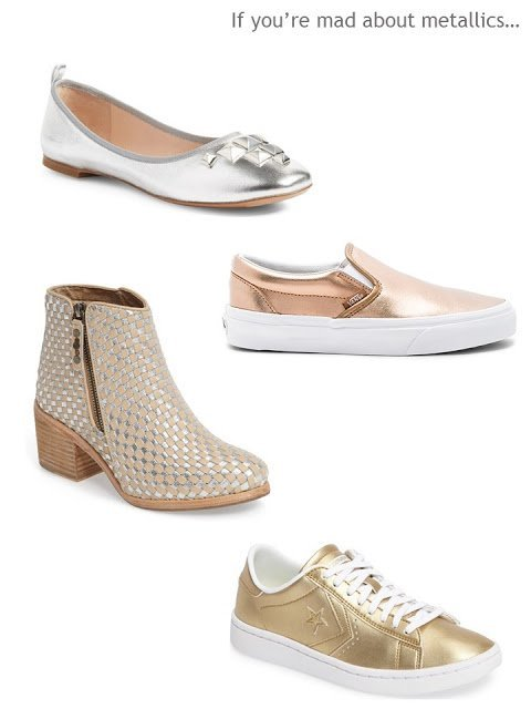 a metallic shoe mini-wardrobe