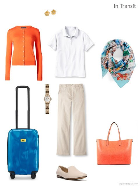 travel outfit in beige, white and orange