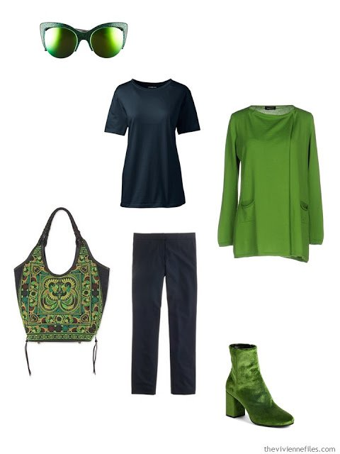 lime green and navy bold ensemble