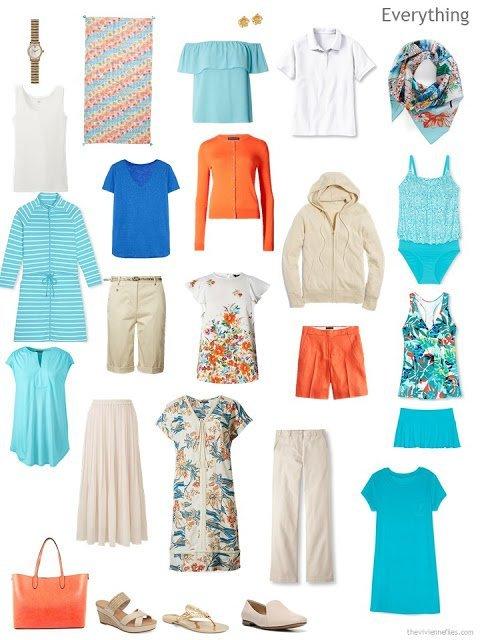 travel capsule wardrobe in beige, white, aqua, blue and orange, for warm weather