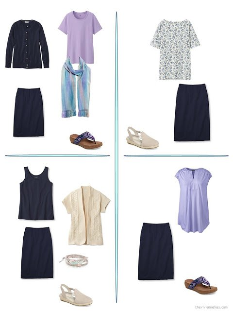 four ways to wear a navy skirt from a travel capsule wardrobe