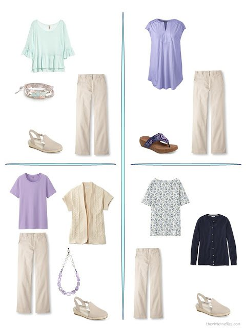 four ways to wear beige pants from a travel capsule wardrobe