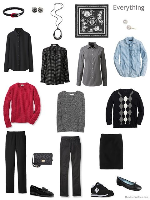 10-piece travel wardrobe in black, white, red, and denim.