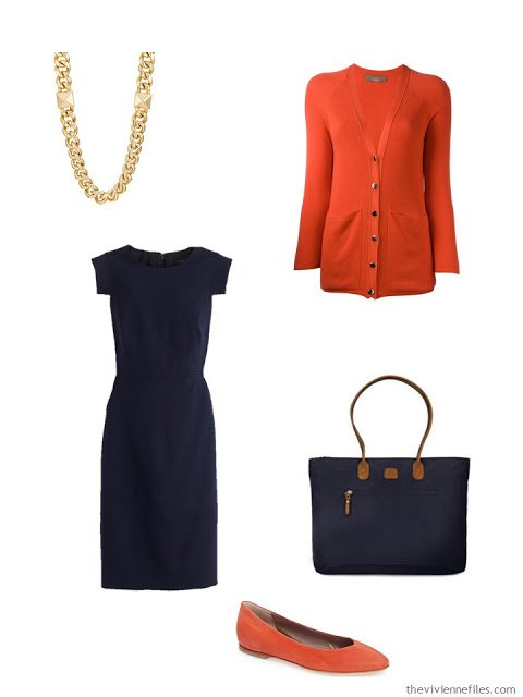 navy dress with orange cardigan and flats
