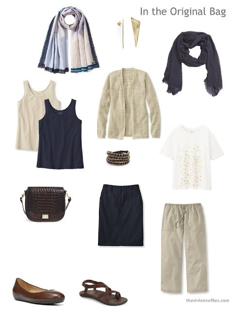 Six Pack in beige and navy, with brown leather accessories, for warm weather