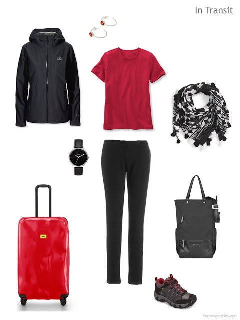 travel outfit in black and red