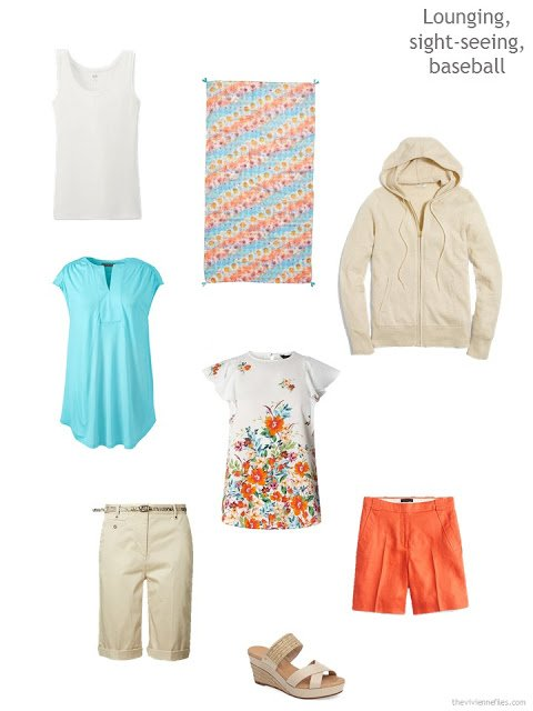 a warm weather leisure wardrobe cluster in tan, white, aqua and orange