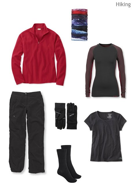 cluster of clothing for cold-weather hiking