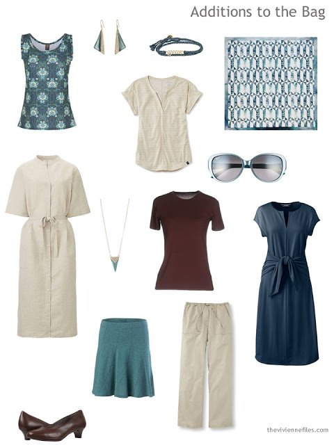 Things to add for a warm-weather travel capsule in beige, navy and teal