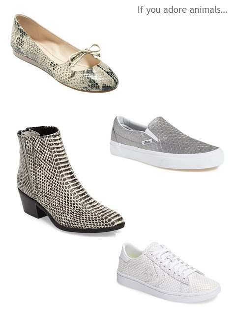 a four-pair shoe wardrobe in snakeskin