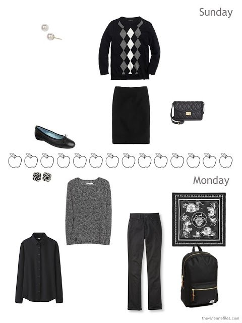 two transitional weather outfits for travel in black and white