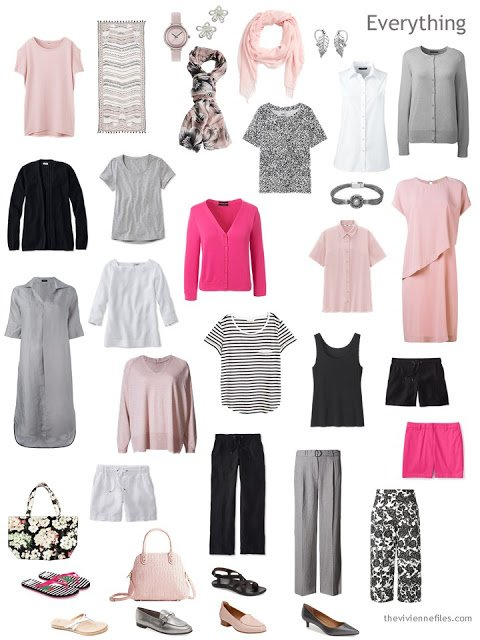 20-piece warm weather wardrobe in black, white, grey and pink