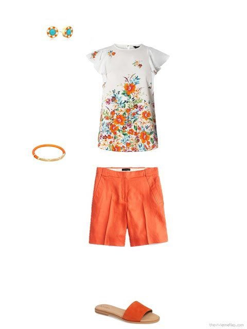 accessories for a pair of orange shorts and a floral tee