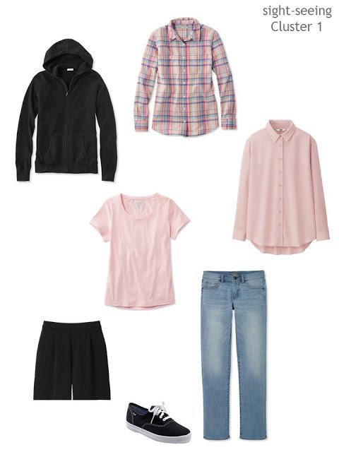 cluster of clothing in black, denim and pink for sight-seeing