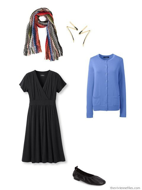 black dress with blue cardigan and Missoni scarf