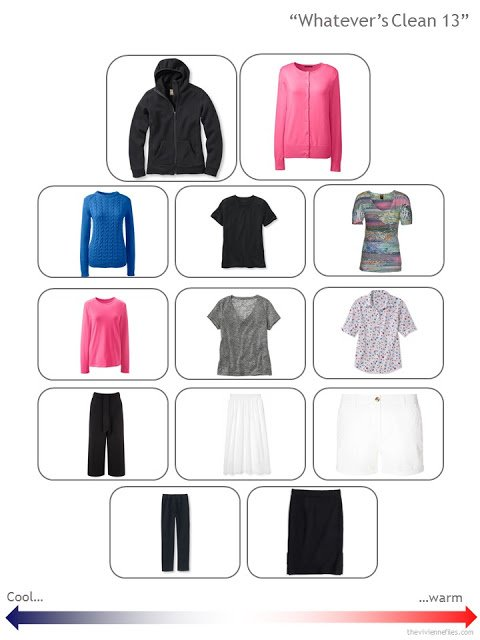 "a ""Whatever's Clean 13"" wardrobe for variable weather, in black, white and brights"