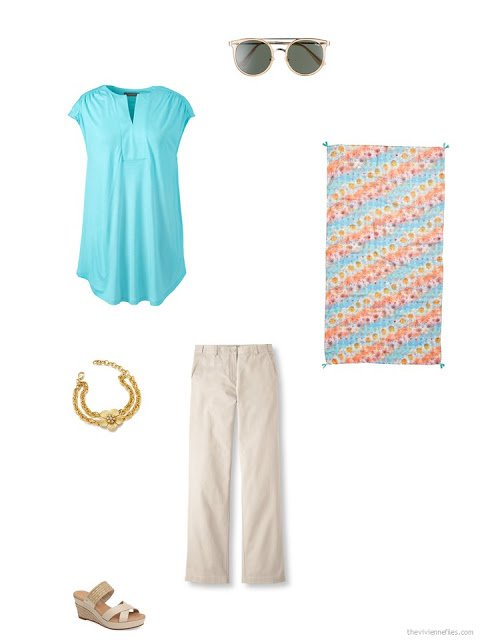 accessories for an aqua tunic and beige pants