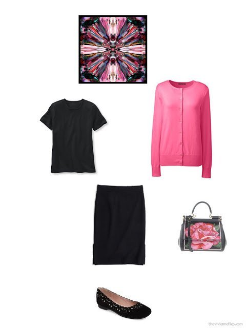 how to accessorize a black and hot pink outfit