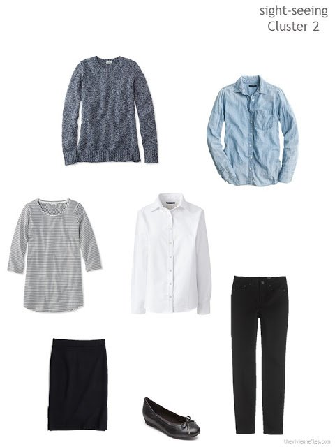 cluster of clothing in black, denim and white for sight-seeing