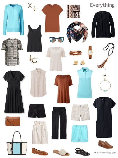 a 16-piece summer wardrobe in black, beige, brown and aqua
