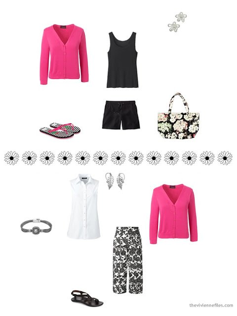 how to style a hot pink cardigan for summer