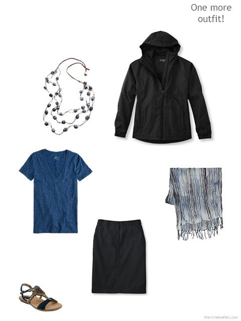 warm weather travel outfit in black and blue