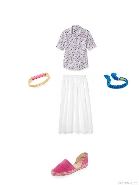 how to accessorize a floral shirt and white skirt