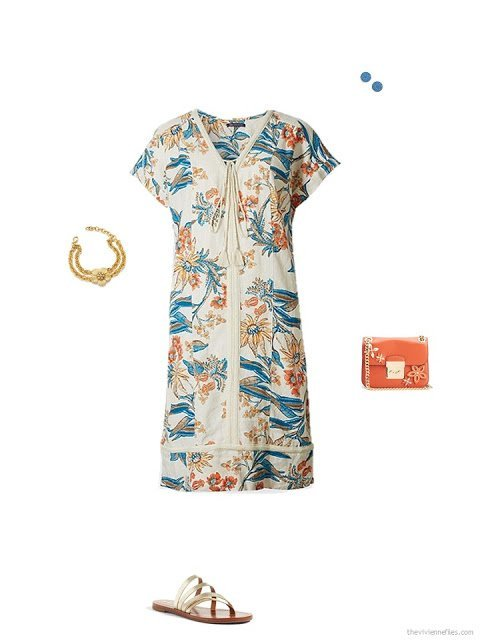 accessories for a floral dress in beige, turquoise and orange