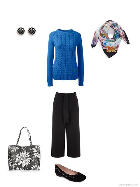 how to style a blue sweater and black cropped pants