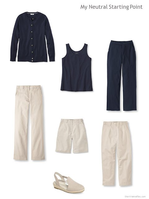 six core garments in navy and beige for warm weather, with a pair of beige espadriles