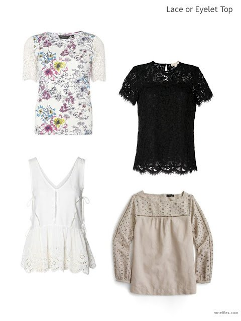 four lace or eyelet tops for Summer 2017
