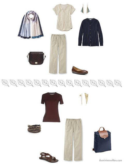 2 ways to style beige linen pants in warm weather