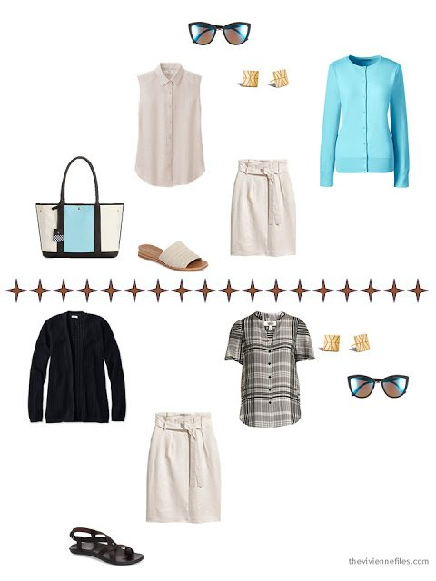 2 ways to style a beige linen skirt, with aqua or with black