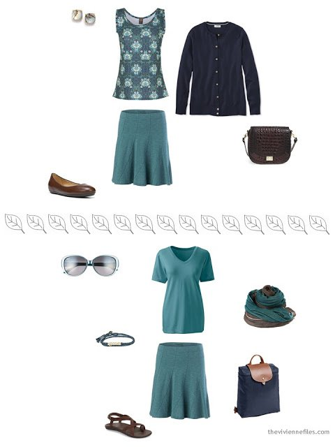 2 ways to style a teal skirt for a summer vacation