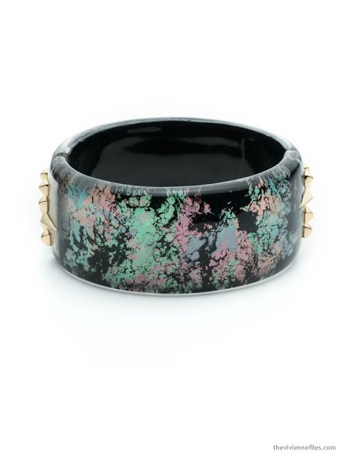 Alexis Bittar bracelet in black with muted pastels and gold studs