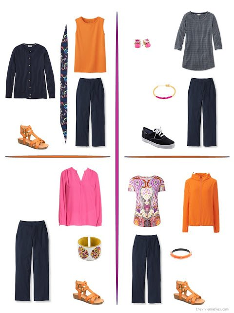 four ways to style navy pants with bright accents from a travel capsule wardrobe
