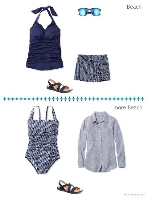 two beach ensembles in navy and white