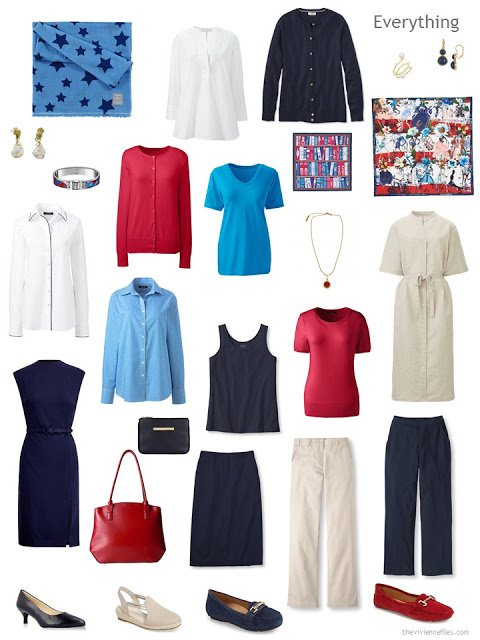 business capsule wardrobe in navy, beige, red, white and bright sky blue