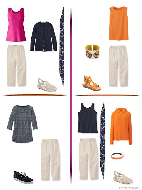 four ways to style beige capris with bright accents from a travel capsule wardrobe