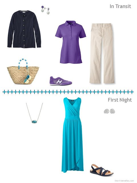 2 outfits for a warm-weather vacation