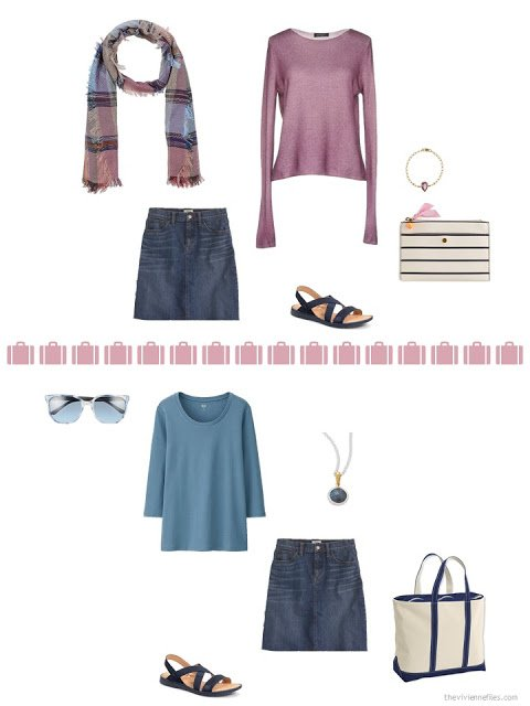 2 ways to style a denim skirt from a travel capsule wardrobe