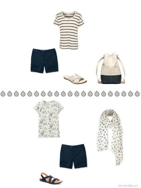 two ways to wear navy shorts with beige print tops