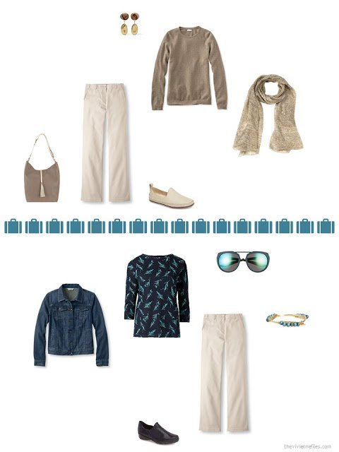 2 ways to style khaki pants from a capsule wardrobe in denim, khaki, teal and camel