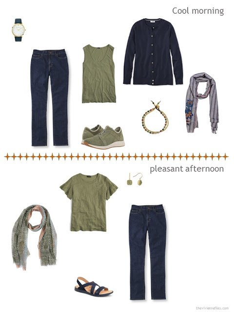 2 ways to style blue jeans from a warm weather travel capsule wardrobe