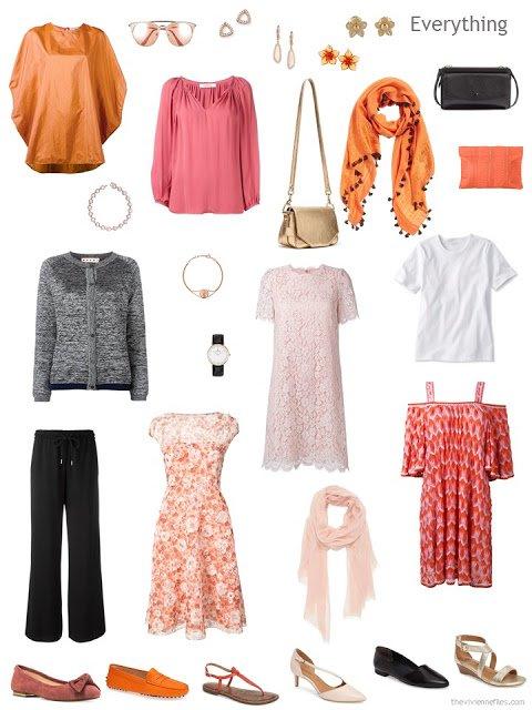 An elopement wardrobe in black, white, pink and orange