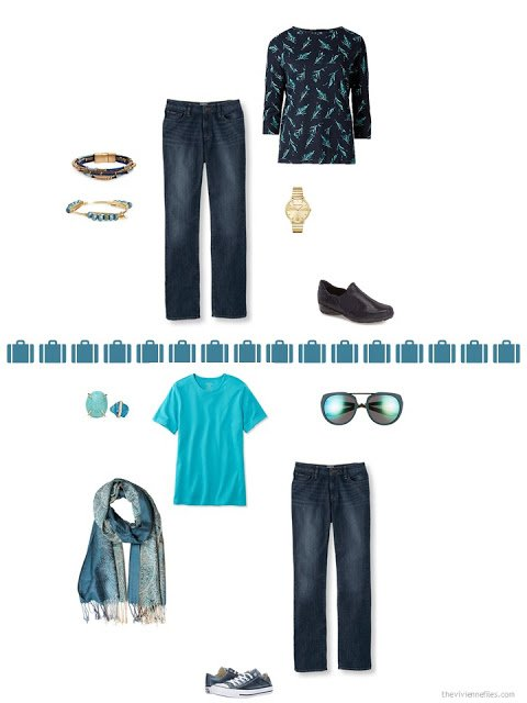 2 ways to style blue jeans from a capsule wardrobe in denim, khaki, teal and camel