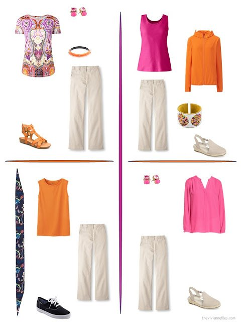 four ways to style beige pants with bright accents from a travel capsule wardrobe