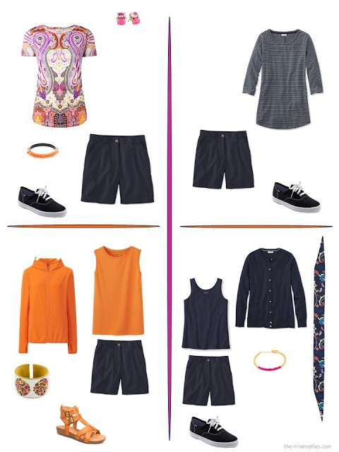 four ways to style navy shorts with bright accents from a travel capsule wardrobe