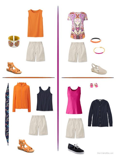 four ways to style beige shorts with bright accents from a travel capsule wardrobe