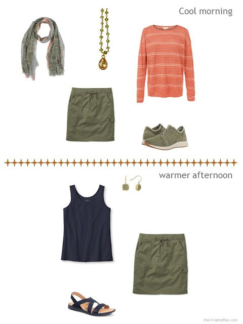 2 ways to style an olive skirt from a warm weather travel capsule wardrobe